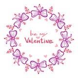 Handskrivet kort för valentindag med den gulliga ramen Royaltyfri Foto