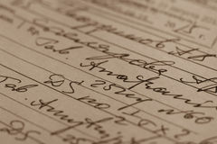 Handskrivet medicinskt recept Arkivbild