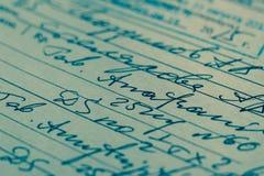 Handskrivet medicinskt recept Fotografering för Bildbyråer