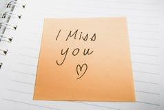 Handskrivet missa jag dig ordet Arkivfoton
