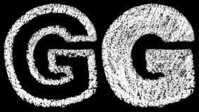 Handskrivet vitt kritaengelska märker G som tillbaka isoleras på svart stock illustrationer