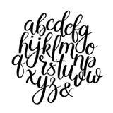Handskrivna borstebokstäver abc Modern kalligrafi Alfabet för handbokstävervektor vektor illustrationer