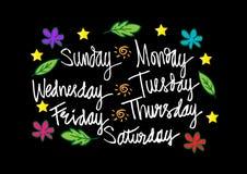 Handskrivna dagar av veckan royaltyfri illustrationer