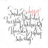 Handskrivna dagar av veckan Fotografering för Bildbyråer