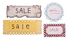 handskrivna försäljningsetiketter Arkivfoto