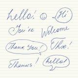 Handskrivna korta uttryck Hello, tacka dig, välkomnandet, tack som är högt, Thx Royaltyfri Bild