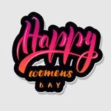 Handskrivna märka lyckliga kvinnor för typografi vektor illustrationer