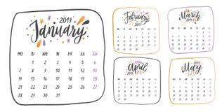 Handskrivna namn av månader: Januari Februari, mars, April, Maj Kalligrafiord för kalendrar och organisatörer royaltyfri illustrationer
