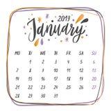 Handskrivna namn av månader: Januari kalligrafiord för kalendrar och organisatörer stock illustrationer