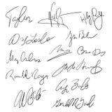 Handskrivna pennhäften för autografer för materiel för leverans- och affärsdokumentvektor vektor illustrationer