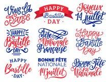 Handskrivna uttryck för Bastilledag Kalligrafi av Joyeux 14 Juillet etc. översatt från franska lyckliga 14th Juli etc. Arkivbilder