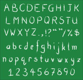 Handskrivna vita kritastilsorter på den gröna svart tavla Royaltyfria Bilder