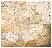 Handskrivna vykort för tappning bakgrund detailed för upplösningsfläckar för grunge hög paper tappning för textur Royaltyfri Bild