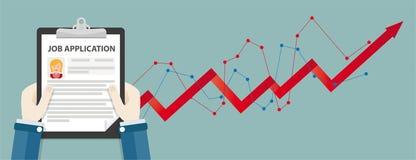 HandskrivplattaJob Application Growth Chart Woman titelrad royaltyfri illustrationer