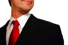 Handsome. Man with black tuxedo, red necktie and white shirt Stock Images