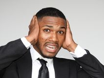 Male Under Stress. A handsome adult black man Stock Photography