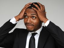 Male Under Stress. A handsome adult black man Royalty Free Stock Photography