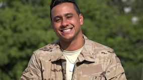 Happy Hispanic Male Soldier. A handsome adult hispanic man stock video