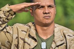 Male Soldier Saluting. A handsome adult hispanic man Stock Photos