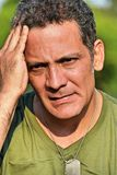 Male Soldier Under Stress. A handsome adult hispanic man Stock Images