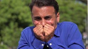 Terrified Fearful Young Hispanic Business Man. A handsome adult hispanic man stock footage