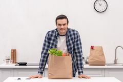 Handsome adult man with grocery store paper bag. At kitchen stock photos