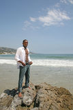 Handsome African American Man on the Beach Royalty Free Stock Photography