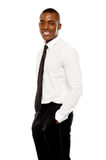 Handsome african corporate man posing casually Royalty Free Stock Photos