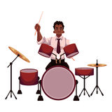 Handsome African male drummer playing drums Royalty Free Stock Photos