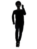 Handsome african young man running  silhouette Stock Image