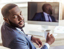 Handsome Afro American businessman Stock Photos