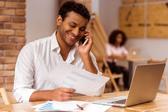 Handsome Afro-American man working Stock Image