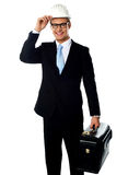 Handsome american architect holding a briefcase Royalty Free Stock Image