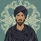 Handsome arabian man with mustache and beard in a turban over ornate pattern. Royalty Free Stock Photography
