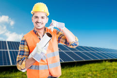 Handsome architect with blueptints in photovoltaic station Stock Photos