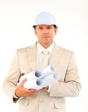 Handsome architect holding blueprints Royalty Free Stock Image