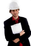Handsome architect holding writing pad Royalty Free Stock Photography