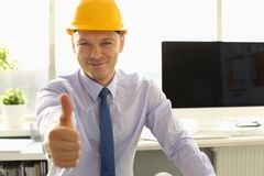 Handsome Architect Thumb Up in Engineering Office royalty free stock photos