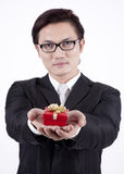 Handsome Asian businessman with Gift stock image