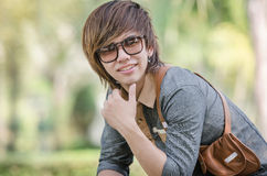 Handsome Asian man with smiling Stock Images