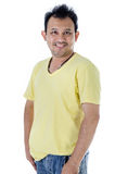 Handsome Asian man with yellow shirt Royalty Free Stock Photography