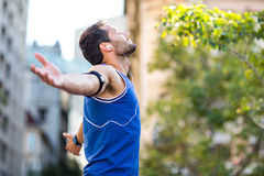 An handsome athlete enjoying the sun Stock Photography