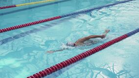 Handsome athlete swimmer sportsman training in swimming pool