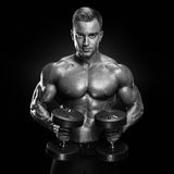 Handsome athletic guy workout with dumbbells Stock Photography