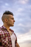 Handsome Athletic Man Looking Away Against Sky Royalty Free Stock Photos