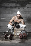 Handsome athletic man. Posing in front of the camera Stock Photography
