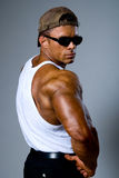 Handsome athletic man in a white T-shirt Stock Photo