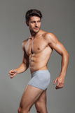 Handsome attractive man in underwear posing. Isolated on a gray background Royalty Free Stock Images