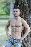 Handsome and attractive muscular young man resting in a park Stock Images