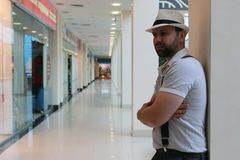 Bearded man indoor mall royalty free stock image